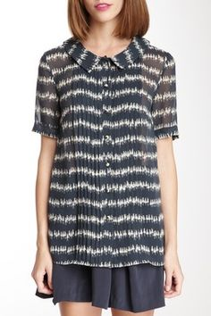 Orla Kiely Silk Georgette Short Sleeve Blouse
