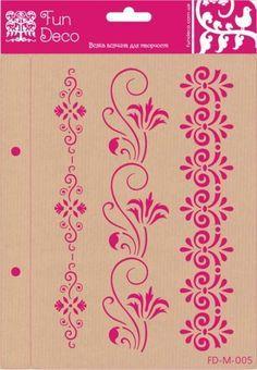 Бордюри_3 - Інтернет-магазин - Всяка всячина для творчості, хобі та декору Stencil Wall Art, Letter Stencils, Stencil Painting, Fabric Painting, Stencil Patterns, Stencil Designs, Saree Painting, Rangoli Borders, Art Nouveau Pattern