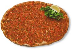 Turkish pizza (sort of - its not pide). Spiced ground lamb, top with fresh salad to eat....yum!