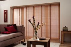 Panel Blinds for Your House Window Coverings and Home Decor Door Curtains Designs, Glass Door Curtains, Patio Door Blinds, Patio Door Coverings, French Door Curtains, Curtain Designs, Window Coverings, Wood Blinds, Sliding Panels