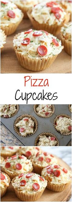 Pizza Cupcakes. Savory pizza flavored muffins dressed up to look like cupcakes! A fun and easy meal.