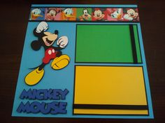 """Disney 2 Page 12"""" x 12"""" Mickey Minnie Mouse Scrapbook Layout w Paper Piecings 