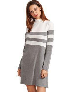 Grey Long Sleeve Shift Dress