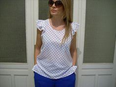 Blusa+misto+seta+bianca+pois+azzurri+di+MelinaECris+su+DaWanda.com