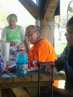 Sis.Burris eating lunch.
