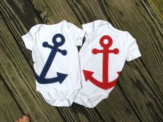 Baby Boy Clothes Navy Blue Anchor Onesie by TheWishingElephant. Totally getting these if I have twin boys someday :) Baby Outfits Newborn, Baby Boy Newborn, My Baby Girl, Baby Boy Outfits, Baby Boys, Twin Boys, Twin Babies, Cute Babies, Twins