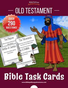 Old Testament Bible Task Cards for Kids | Bible quizzing for kids | Instant download! Mothers In The Bible, Bible For Kids, Bible Resources, Bible Activities, Activity Books, Joseph In Egypt, Bible Cartoon, Adventure Bible, Daniel And The Lions