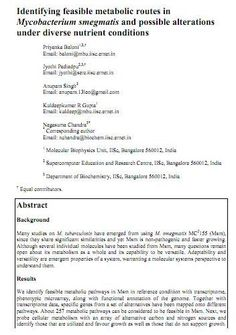 """Research article citing Genotypic's Custom Array Design! The article provides detail analysis of feasible pathways towards adaptability in M.smegmatis MC2 155.Titled- """"Identifying feasible metabolic routes in Mycobacterium smegmatis and possible alterations under diverse nutrient conditions"""" Congratulations to all the Authors from IISC Bangalore and thank you for acknowledging Genotypic Technology  Link: http://www.genotypic.co.in/Whats-New/2/Publications.aspx"""