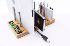 Love this modular desk organizer for devices + what not.