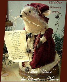 Mrs. Clause the Christmas Mouse Pattern-Christmas,Mouse,Primitive,Grungy,Vintage,Pattern,e-Pattern,Old Road Primitives,Patterns,Prims,ePatte