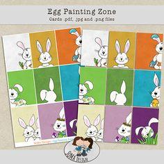SoMa Design Egg Painting Zone Cards Printable Cards, Digital Scrapbooking, Eggs, Kids Rugs, Painting, Kit, Design, Printable Maps, Kid Friendly Rugs