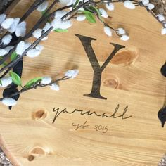 Custom 15 Round Wooden Serving Tray with Handles