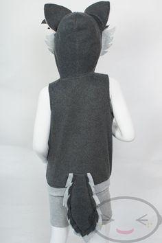 KIDS Wolf Hoodie Costume Vest Jacket Hand-made door lemonbrat