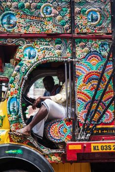 An intricately painted truck in Kerala.