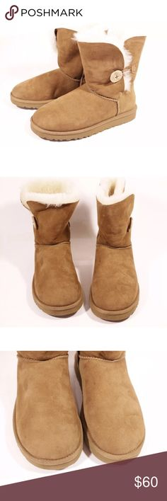 Ugg Australia bailey button winter boots 100% authentic. Ugg bailey button chestnut winter boots. In very good condition! UGG Shoes Winter & Rain Boots