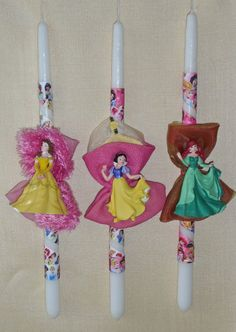Πασχαλινές λαμπάδες Disney Princess Christmas Decorations, Christmas Ornaments, Holiday Decor, Wedding Unity Candles, Palm Sunday, Candle Set, Disney Outfits, Decorated Candles, Projects To Try