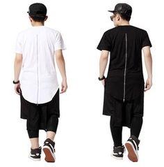 High Quality Back Zipper Streetwear Swag Man Hip Hop Skateboard T Shirt