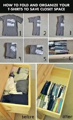 A creative and geeky way to fold shirts to save drawer space.