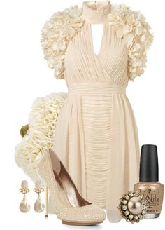 """""""Ruffled Shoulder Dress"""" by tacciani ❤ liked on Polyvore"""