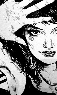 elliottmarshal: [image description: a close up, black and white portrait of Death from Sandman. She has one hand raised, her fingers spread out and palm up facing the viewer. She's smiling a little.] mingdoyle:  A little of Death.