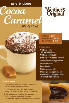 The EASIEST chocolate cake you'll ever make! Simply mix the ingredients in a bowl, pour into a mug, drop in some caramel, pop in the microwave for 90 seconds and you'll have a deliciously soft cocoa caramel mug cake. Mug Recipes, Baking Recipes, Sweet Recipes, Cake Recipes, Dessert Recipes, Recipies, Easy Desserts, Delicious Desserts, Yummy Food