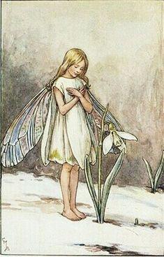 Cicely Mary Barker Illustration of the Snowdrop Fairy for Flower Fairies of the Garden. Cicely Mary Barker, Illustrations, Illustration Art, Arte Fashion, Spring Fairy, Vintage Fairies, Alphonse Mucha, Winter Art, Fairy Art