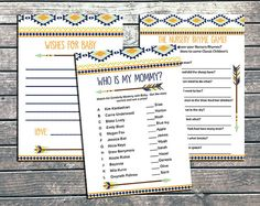 Boho Tribal Baby Shower Games Printable Baby Boy Tribal Arrow Baby Shower Game DIY Woodland Ikat Baby Wishes - INSTANT…