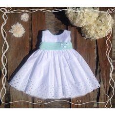 eff2b220dc76 Βαπτιστικό φόρεμα λευκό βαμβακερό μπροντερί με βεραμάν ζώνη Βαπτιστικά ρούχα