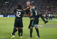 Real Madrid's Casemiro (right) celebrates scoring his side's first goal of the game with teammates during the UEFA Super Cup match at the Philip II Arena, Skopje, Macedonia.