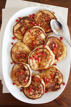 lemon-ricotta pancakes + pomegranate syrup from @Stephanie Wise | Girl Versus Dough