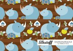 Rhino Boy Lillestoff Euro Knit Fabric : Banberry Place, Kids Knit Fabrics::Euro Fabric::Indie Sewing Patterns::Novelty Woven Ribbon