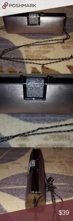 Studded Gold chain clutch Gold clutch silk feel studded clasp with chain strap. Black velvet feel inside. Used once Bags Clutches & Wristlets