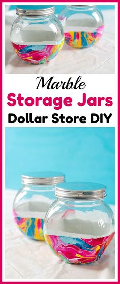 Dollar Store DIY Marble Storage Jars - Store bulk goods, candies, and more in style with these DIY marble storage jars! This easy project can be done with just dollar store supplies! | dollar store DIY, dollar store craft, dollar store organizing, painted jar, how to paint a glass jar, easy craft, nail polish craft, DIY storage