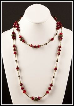 Your place to buy and sell all things handmade Cranberry Color, Beaded Necklace, Necklaces, Amber Color, Buy And Sell, Bronze, Shades, Crystals, Handmade