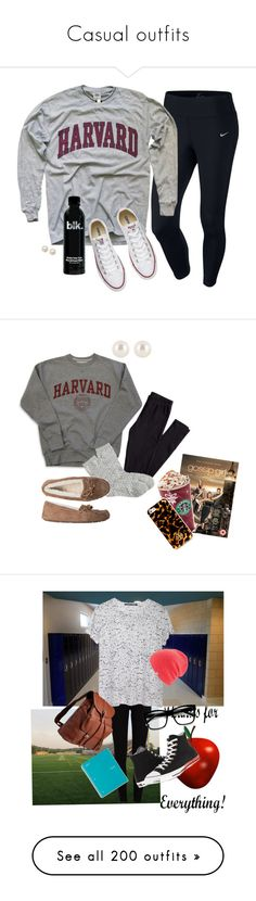"""Casual outfits"" by ashton-rae ❤ liked on Polyvore featuring NIKE, Converse, Honora, H&M, J.Crew, UGG Australia, CO, Henri Bendel, Tory Burch and Avenue"