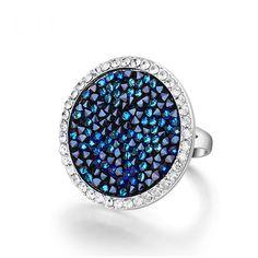 Blue Rainbow - Swarovski Silver Cocktail Ring