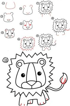 Most recent No Cost lion drawing for kids Strategies Present young children a collection of paper and also a package with crayons, plus there is a high probability they are Cartoon Drawings, Animal Drawings, Art Drawings, Easy Drawings For Kids, Drawing For Kids, Drawing Ideas, Drawing Lessons, Lion Drawing Simple, Easy Tiger Drawing
