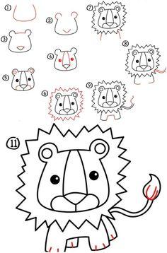 Löwe zeichnen mit gezackter Mähne