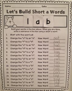 Teaching With Love and Laughter: Word Building Activity