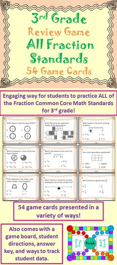 This product contains 54 multiple-choice game cards (could also be used as task cards) that cover all of the fraction standards for the third grade curriculum (3.NF.1 ~ 3.NF.3). This will help teachers engage students in fun test prep. A game board and student directions are also included. $