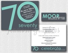 Double-Sided Anniversary or Birthday Invitation, Labels, Any Color, 20th, 30th, 40th, 50th, 60th, 70th, 80th, 90th, Printable, DIY, 4.25x5.5 on Etsy, $12.50