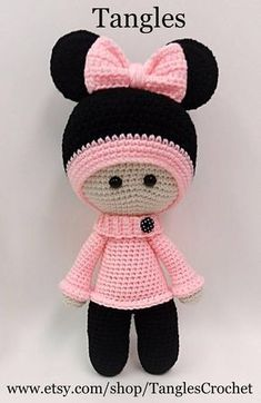Minnie muñeca de cabeza grande Anigurumi 15 alto