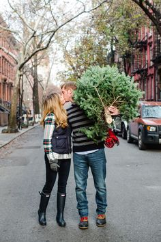 West Village NYC Christmas engagement by Kate Headley // engagement inspiration