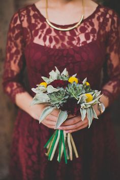 Day of Gal Weddings deep burgundy bridesmaid Downtown Los Angeles Natural Rustic Wedding at the Carondelet House.