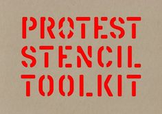 Graphic design tutor Patrick Thomas's 'Protest Stencil Toolkit' (2011).  The book contains 46 die-cut stencils and a stencil typeface that can be used to create slogans and visual messages of protest.  Offering symbols from the great protest movements of the twentieth century through to new images which reflect contemporary concerns such as global warming and the environment, and globalization and the economy, the book is a comprehensive visual compendium of the aesthetics of protest'.
