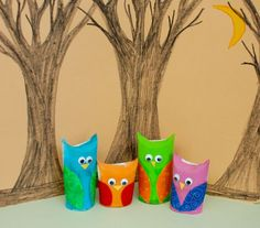 Owl family out of toilet paper tubes