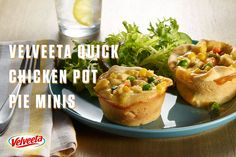 VELVEETA Quick Chicken Pot Pie Minis Recipe - 35 minutes is all you need to have these delight mini pot pies on the table. They're so good you'll want to make them again and again! For more Endless Gold recipes visit velveeta.com