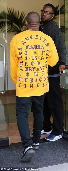 Showing some love: Earlier on Friday Kanye was spotted in a 'I Feel Like Kobe' sweater, in tribute to his pal Kobe Bryant who retired from the LA Lakers this week