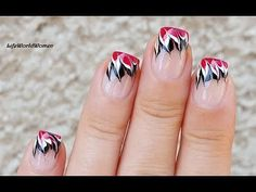 POLKA DOT FRENCH MANICURE With Rose Nail Art Design - YouTube