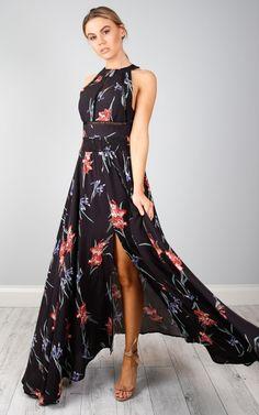 Run Alone maxi dress in black floral SHOWPO Fashion Online